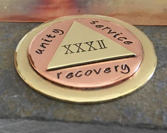 Custom AA Coin   Personalized Coin Medallion   Recovery Gift   Double-Sided AA Sobriety Coin   AA Gift   12 Steps   Alcoholics Anonymous