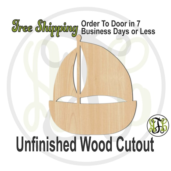 """Sailboat - 2"""" to 6"""" Minis- 50014- Small Wood Cutout, unfinished, wood cutout, wood craft, laser cut shape, wood cut out, ornament"""