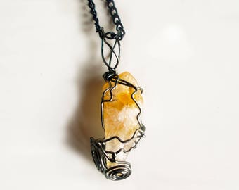 Citrine Wire Wrapped Crystal - Raw Citrine Necklace - Natural Citrine Necklace - Raw Crystal -  Birthday Gift - Citrine Necklace - Raw Stone