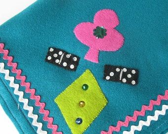 Vintage Felt Tablecloth for Game Table / Poker Night Theme / Dominos / Turquoise with Pink and White Rick Rack