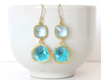 Aquamarine and blue zircon earrings Turquoise earrings Aqua earrings teal earrings seafoam jewelry blue green earrings Aqua Blue Earrings
