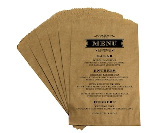 Wedding Menu Favor Bags - Vintage Antique French Country Rustic Wedding - Antique Menu - Wedding Candy Buffet Treat Bags