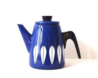 Vintage Cathrineholm Blue & White Lotus Coffee Pot by Grete Prytz Kittelsen and Arne Clausen