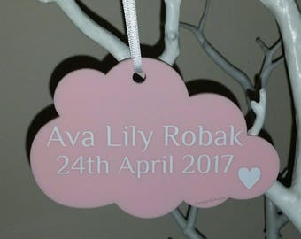 Personalised Hanging Cloud, Nursery Decor, New Baby, Baby Shower, Acrylic Hanging Cloud