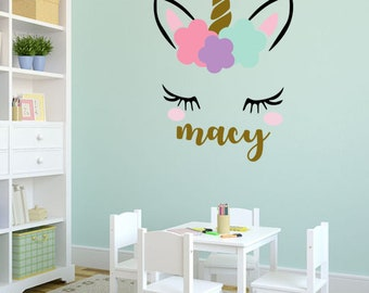 Unicorn wall decal - girls name personalized unicorn wall decal - unicorn monogram wall decal