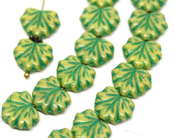 Yellow green glass leaf beads Yellow Maple leaves Green inlays czech beads 11x13mm - 10pc - 0754