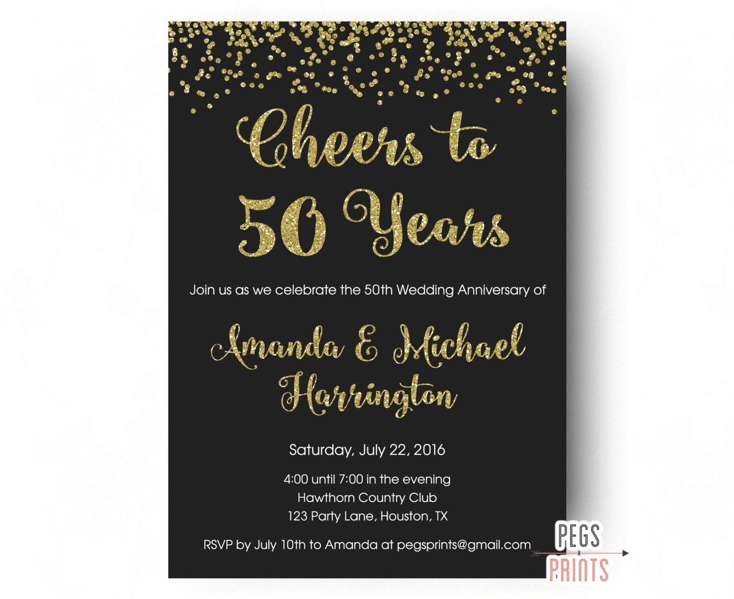 Cheers to 50 years invitation 50th anniversary invitation - Wedding anniversary invitations ...