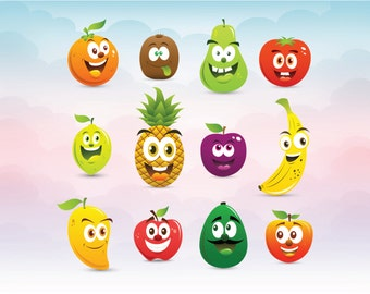 Emoticons Smiley Funny fruit vectors SVG cricut design file Cutting machine Cricut studio Silhouette file Clip art
