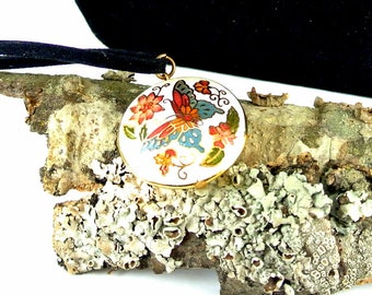 White Cloisonne Pendant Necklace Butterfly Cloisonne Necklace 18 Inch Leather Cord Two Sided Cloisonne Pendant
