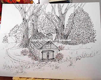 Pen and Ink Original/Cabin Illustration Original /Cabin in the Woods/Home Decor/Home & Living/Wall Art