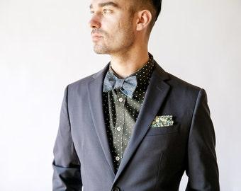 Blue bow tie, chambray bow tie, denim tie, blue necktie, chambray necktie, chambray skinny tie, wedding necktie, men's tie, custom tie
