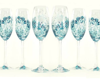 6 Personalized Bridesmaid Champagne Glasses - 6x Hand Painted Champagne Flutes - Teal and Silver Roses - Custom Bachelorette Gift Ideas