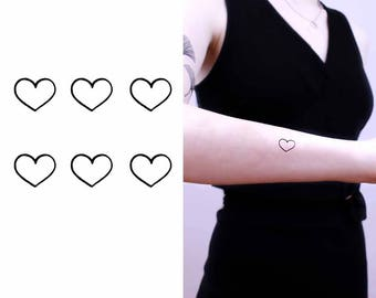 Temporary Tattoo Small Hearts - 6 In The Set - Gift Ideas for Her - SHSM P01