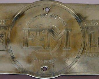 General Motors Locomotive Electro-Motive Division EM Builders Plate - 1963