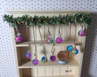 Christmas Tree ornaments - Set P (1:12 scale / Dollhouse miniature)
