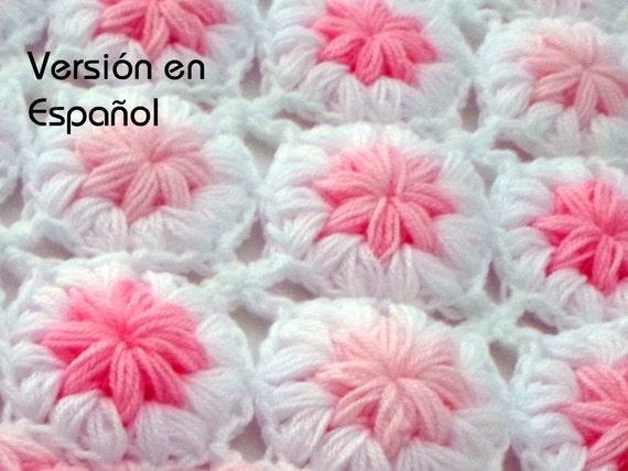 Crochet Baby Blanket Pattern Spanish Version Flowers In The