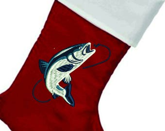 Fisherman's embroidered Christmas Stocking, Free Name & Free s/h