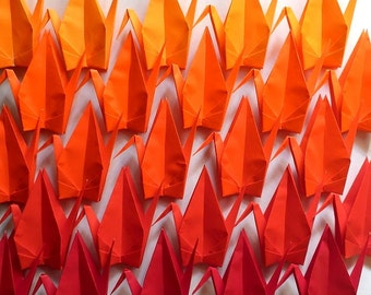 100 Large Origami Cranes Origami Paper Cranes - Made of 15cm 6 inches Japanese Paper - Red Orange - 5 Colors