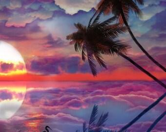 Paradise, Tropical Splendor, Sunset, Palm Trees, Egret, Decor, Original Art, Archival Print, Bright Colors
