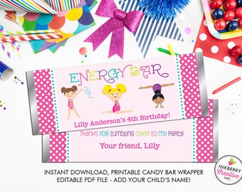 Girls' Gymnastics Party - Printable Energy Bar / Candy Bar Wrappers - Editable PDF Print File