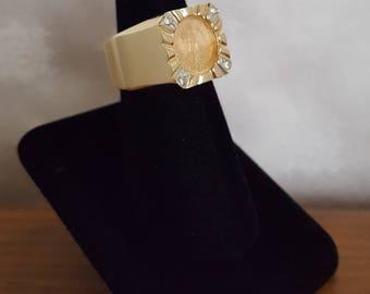 Custom 2 Peso Coin Ring in Heavy 14k Mount w/Diamonds Square Shank -EB797