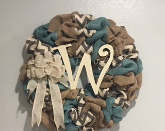 Burlap Chevron Wreath