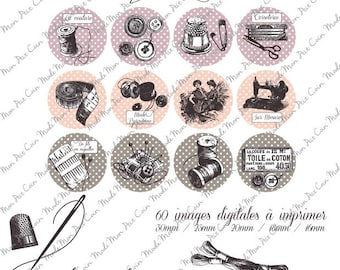 """Digital images for cabochons """"Sewing lesson"""" (88 images) to cut and stick on your creations"""