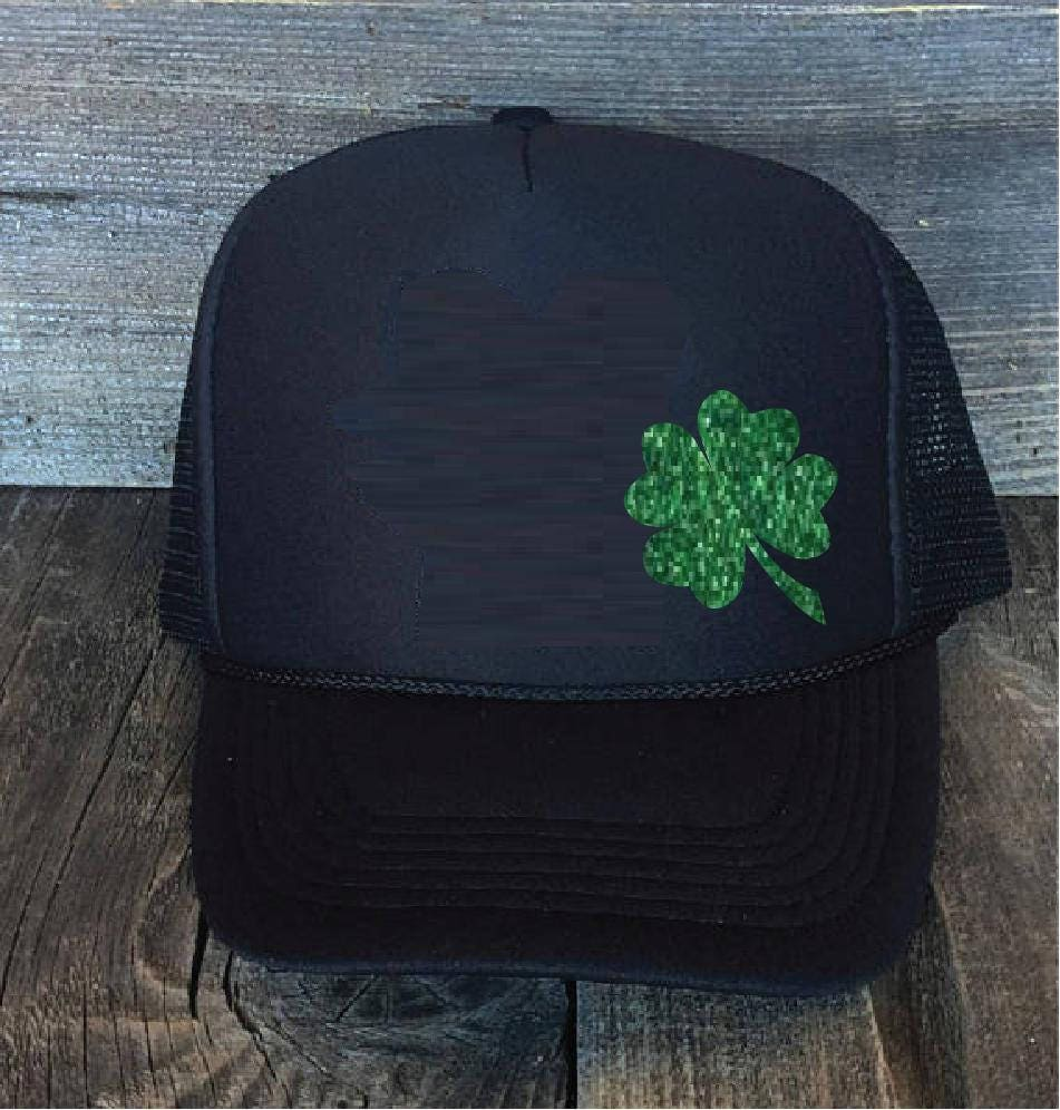 1c8a50089e0 Shamrock Vinyl Black Foam Trucker Mesh Back Hat Snapback Saint Patricks Day.  Irish Hat from HeatherGaleaDesigns on Etsy Studio
