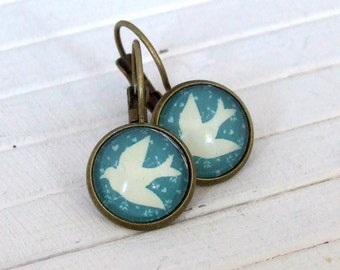 Turquoise and White Bird Earrings ..  drop earrings, bird earrings, swallow earrings, blue bird earrings