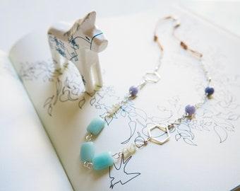 Blue Stone Necklace, Amazonite, Aquamarine, Aventurine, Hexagon, Silver