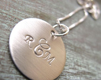 Personalized Monogram Necklace Hand Stamped Sterling Silver with Brushed Finish