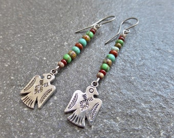 Long Colourful Czech Glass Bead Thunderbird Earrings With HandmadeAnti Allergenic Titanium Ear Wires - Southwest - Boho - Tribal Earrings