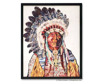 American Heritage Chief Print on Wood