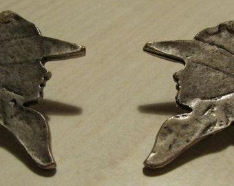 Cowboy Silohette Silvertone Post Earrings