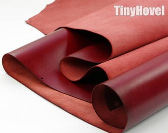 Italy Vegetable Tanned Leather, Red of Leather Off Cuts, Italian Genuine Cowhide Leathercraft [Thickness: 1.8 mm] L007