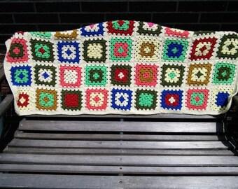 Vintage Crochet Afghan Granny Squares Multi Color Retro Blanket Throw Lap Blanket Cottage Chic Camping Retro Decor Movie TV Prop 3DsVintage