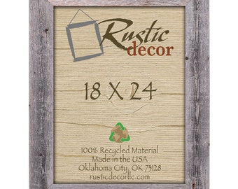"""18x24 Rustic Barn Wood 3.5"""" Extra Wide Wall Frame"""