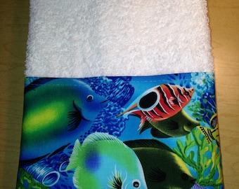 Summer Cute  handmade Tropical Blue Ocean Fish Guest Hand Towel