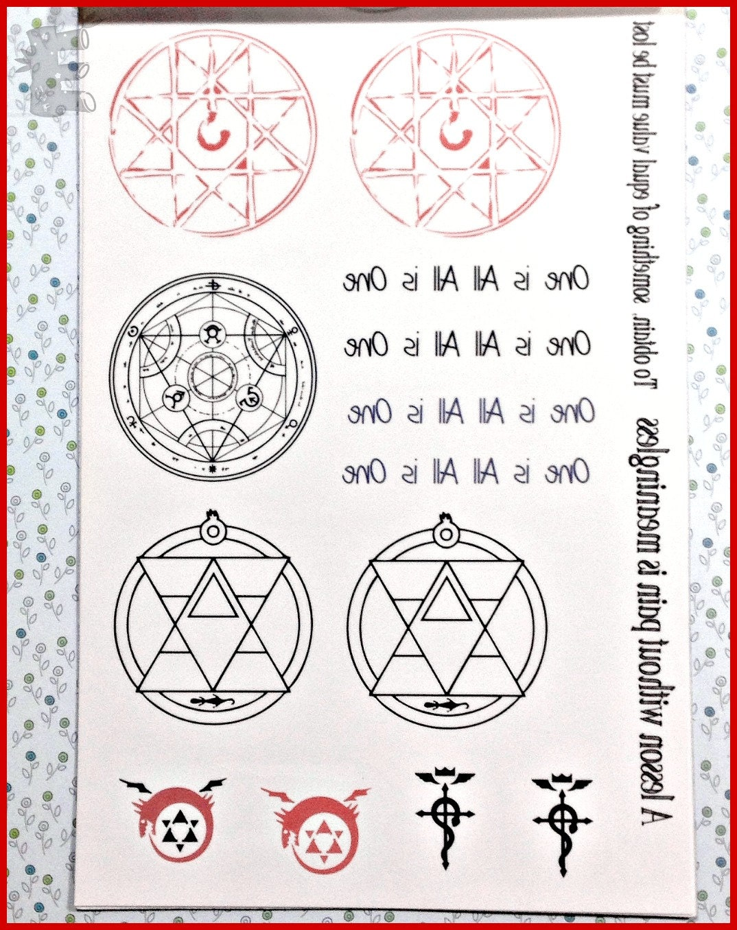 Fma blood seal temporary tattoo and bonus alchemy symbols and zoom biocorpaavc