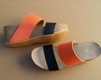 Free Shipping, platform sandals,  vegan Sandals, Summer Shoes, , Straps Sandals  VEGAN LEONOR orange/black