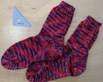 Cable-backed handknit socks