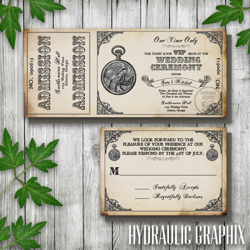 Steampunk Printable Ticket Wedding Invitation and RSVP