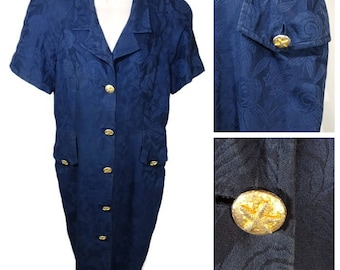 Vintage Nipon Boutique Shirt Dress Women Size 14 Blue Button Up Floral Cotton