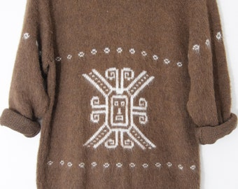 Tribal ethnic mohair ethnic jumper sweater Festival alpaca aztec boho hippy s uk 8 10 12  usa 4 6 8
