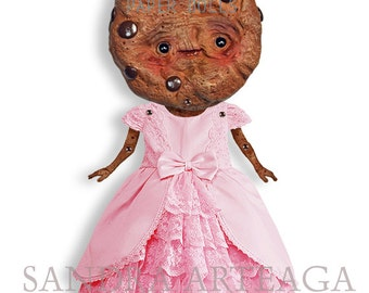 Princess Ivy - articulated Paper Doll 8.3 inches - cookie pastels chocolate puppet queen pink  wonderland tea party ooak cookie doll cocoa