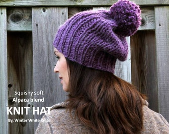 ALPACA KNIT HAT, knit hat, knit winter hat, chunky knit hat, pom pom knit hat, slouchy knit hat, knit beanie, winter hat, hand-knit hat