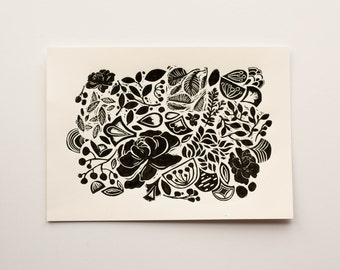 MAY LINOCUT PRINT, Handmade and hand pulled linocut print, Limited edition printed art, Nature inspired art print, Blacka and white art