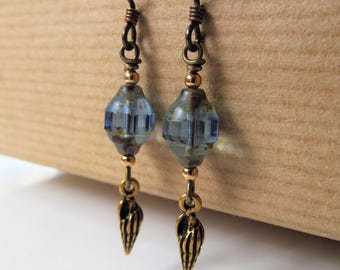 Seashell Earrings - Ocean Blue Czech Glass and Golden Shells Beaded Niobium Earrings - BeadedTail