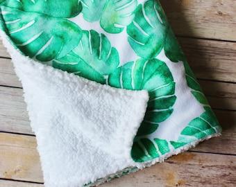 Lovey Blanket for Baby – Monstera Leaf Baby Gift