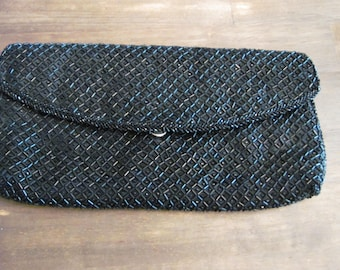 Vintage Black Beaded Clutch By JOSEF